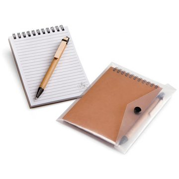 A6 Eco Notebook & Pen in clear sleeve